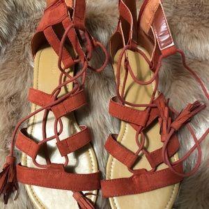 Forever 21 Orange lace up sandals